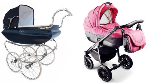 An old style pram and a new style stroller with a bassinet carriage fitted!