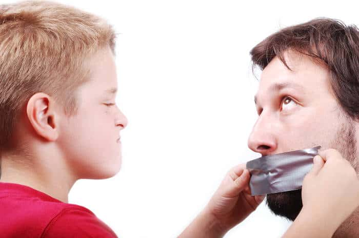 A father being silenced with duct tape by his son