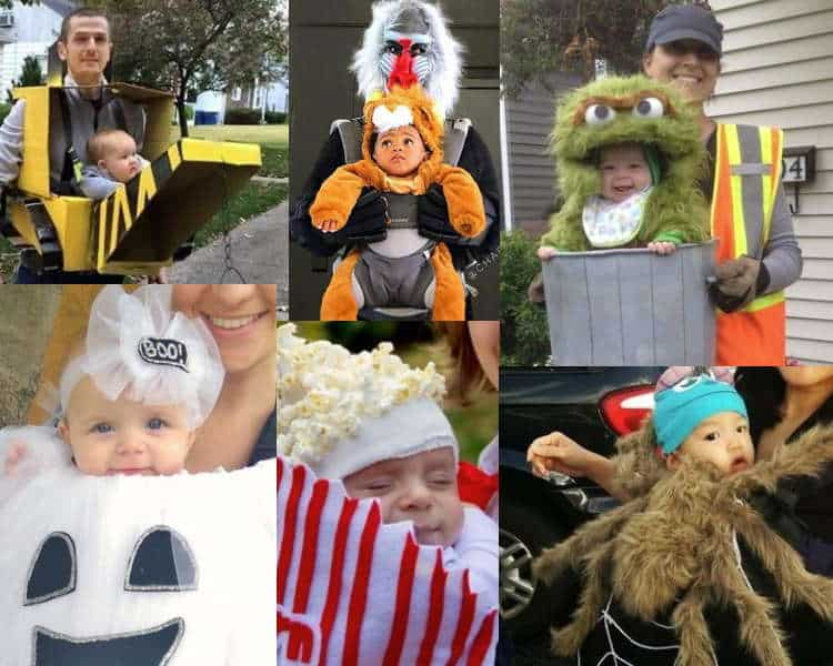 baby carrier costume collage, spider, ghost, popcorn and more