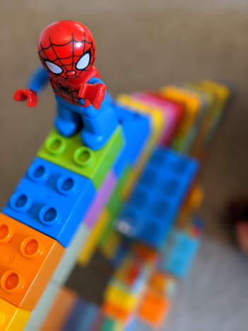 LEGO stairway with spiderman on top