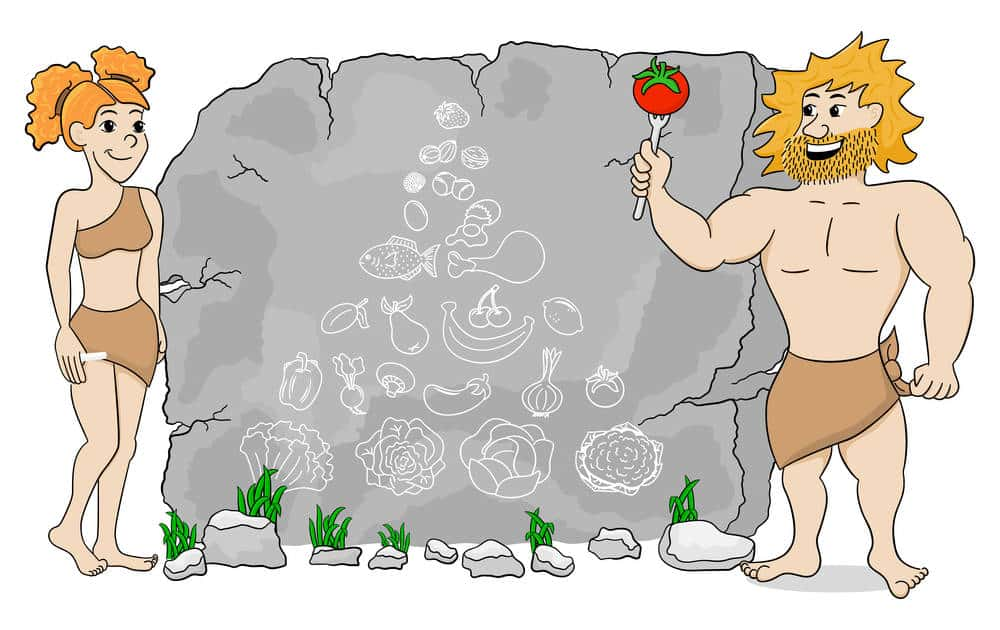 Paleo diet foods as cave paintings with caveman and woman