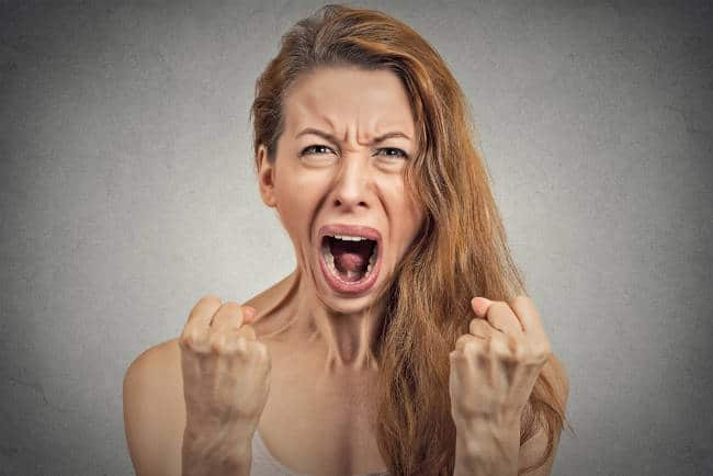 angry young woman screaming